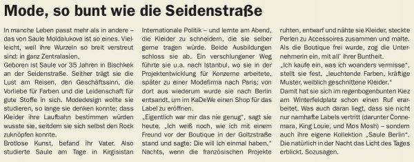 Tagesspiegel Saule Mode Berlin