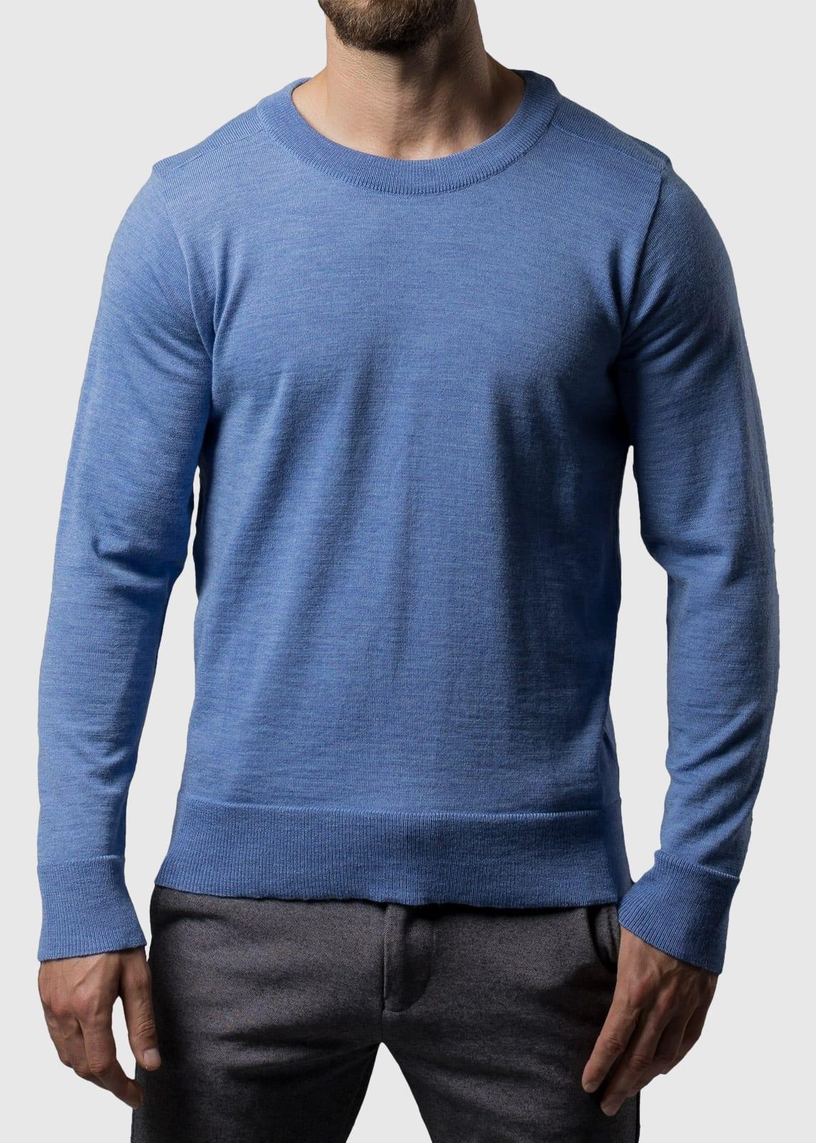 Rundhals Pullover blau Tristan aus Merinowolle extrafein