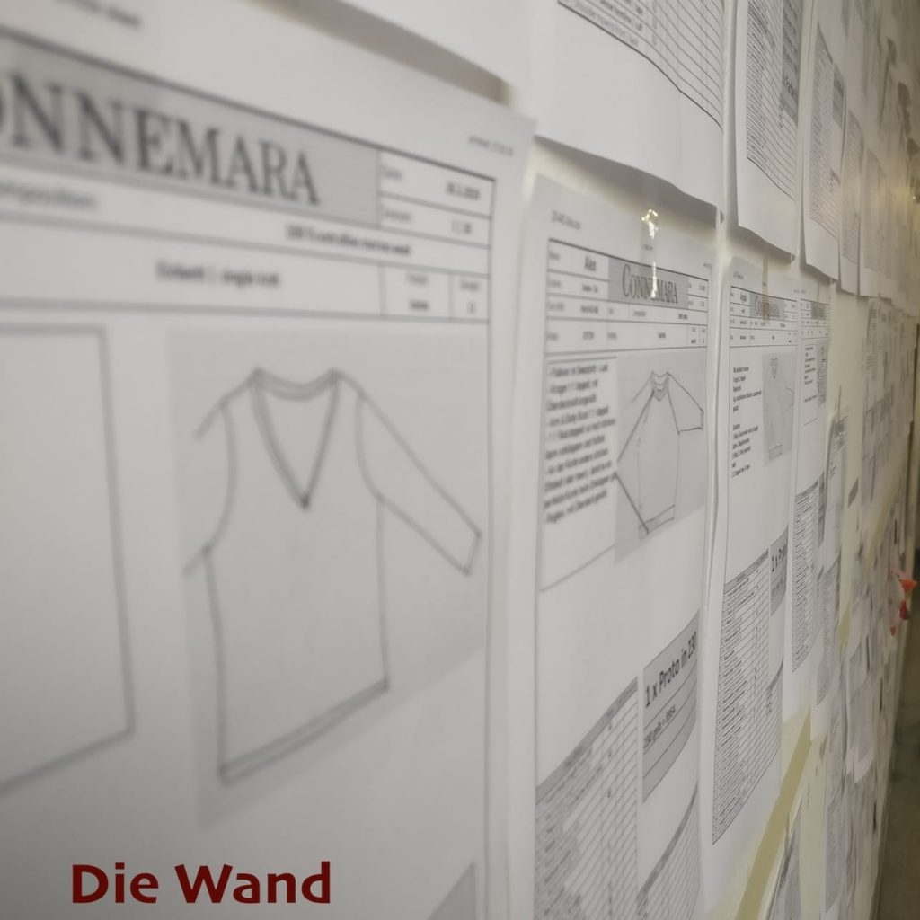 Wand mit Informationen und Skizzen
