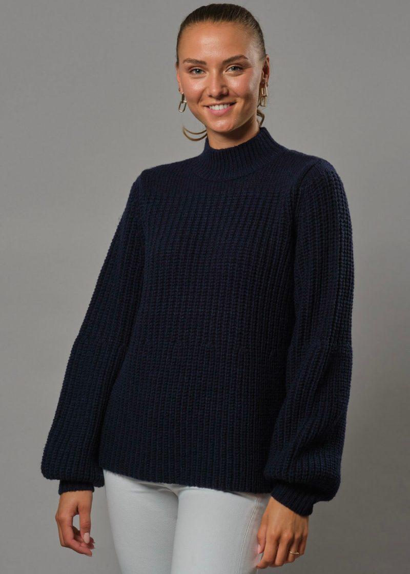 Connemara Pullover mit Ballonärmeln Zora in navy aus Wolle in Grobstrick
