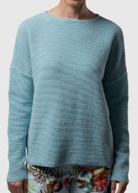 oversized Pullover aus Baumwolle in Wellenoptik von Connemara in bleu