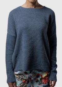 oversized Pullover aus Baumwolle in Wellenoptik von Connemara in taubenblau