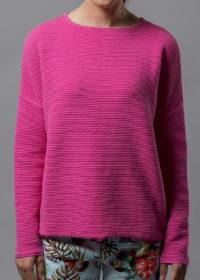 oversized Pullover aus Baumwolle in Wellenoptik von Connemara in pink