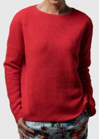 oversized Pullover aus Baumwolle in Wellenoptik von Connemara in rot