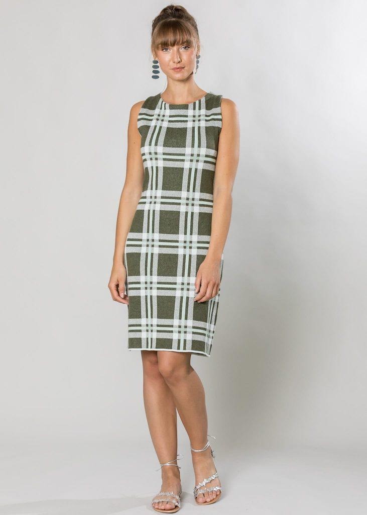 Connemara Kleid Anita aus Baumwolle, gestrickt in einem Karo-Jacquard in mint|oliv | Made in EU