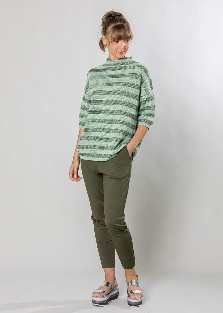 Connemara Pullover Anita aus Baumwolle in luftigem Spezialstrick in mint | oliv | Made in EU