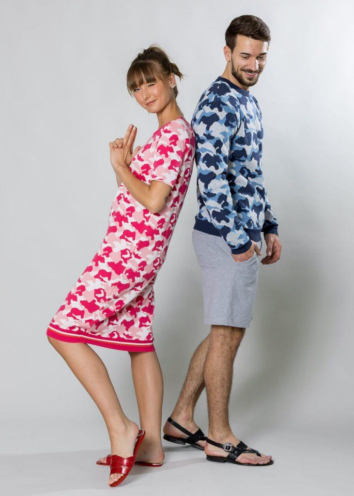 Connemara Pullover Dustin und Kleid Arween aus Baumwolle | Camouflage |Made in EU