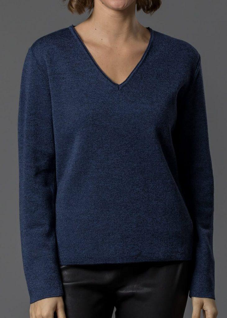 Merinopullover für Damen in blau mouliné von Connemara