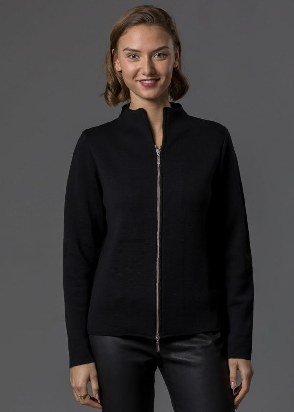 Merinojacke für Damen mit silbernem Zipper in schwarz von Connemara