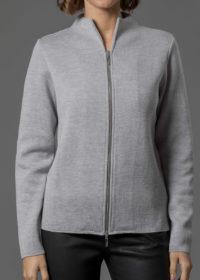 Merinojacke für Damen mit silbernem Zipper in silber melange von Connemara