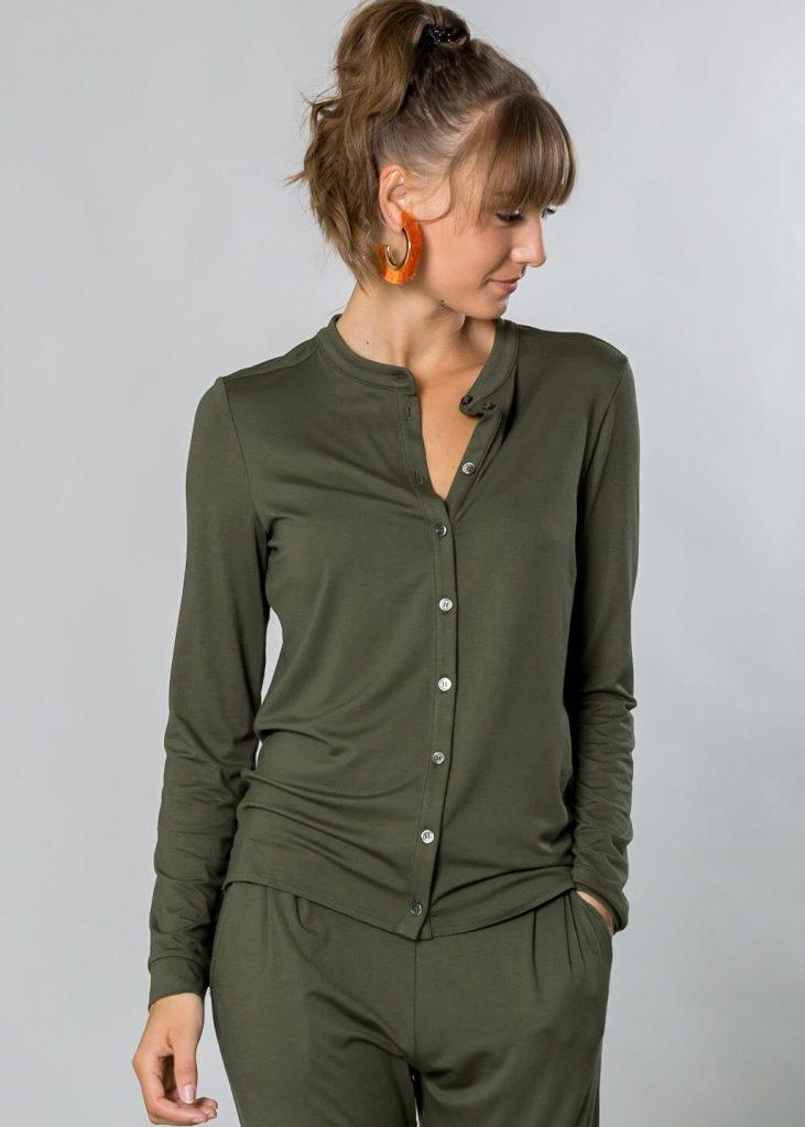 Jersey Bluse in oliv von Connemara