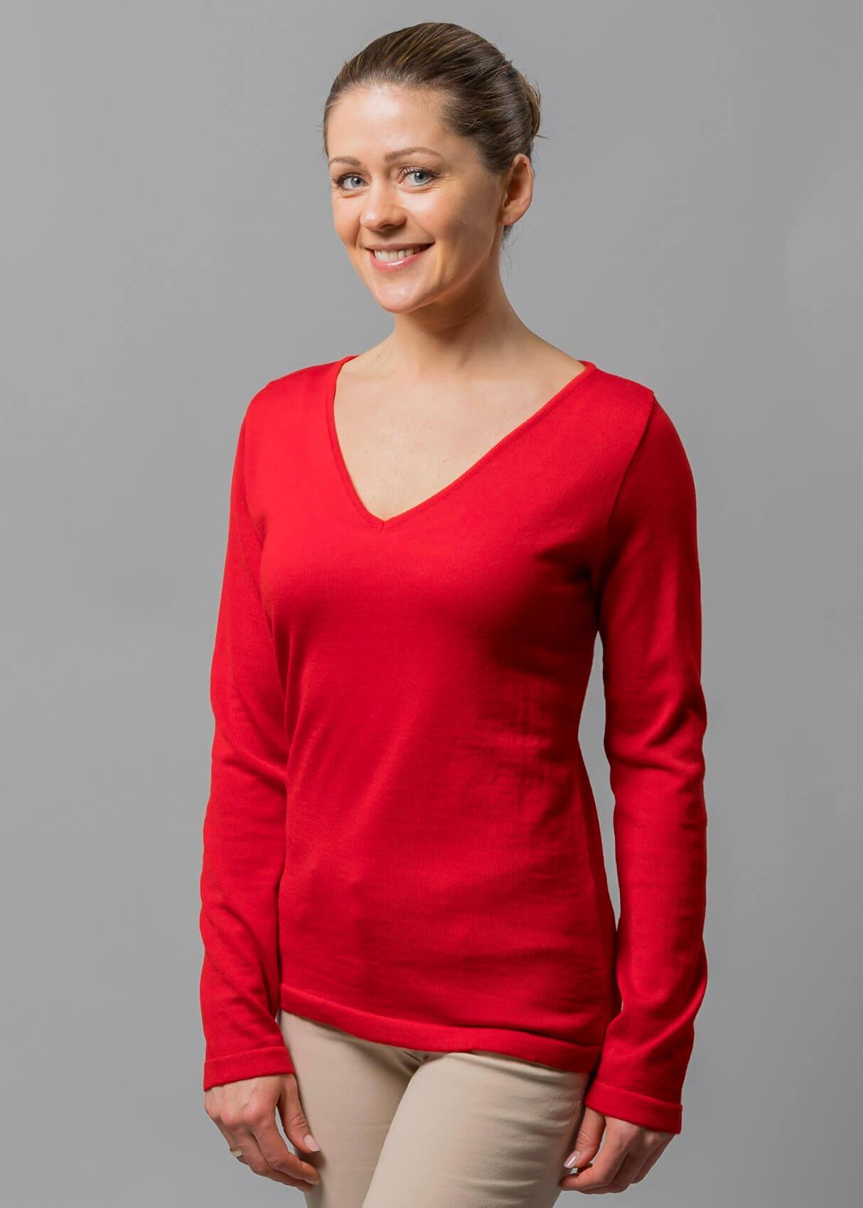 Connemara Damen Pullover V Ausschnitt rot aus Merinowolle extrafein