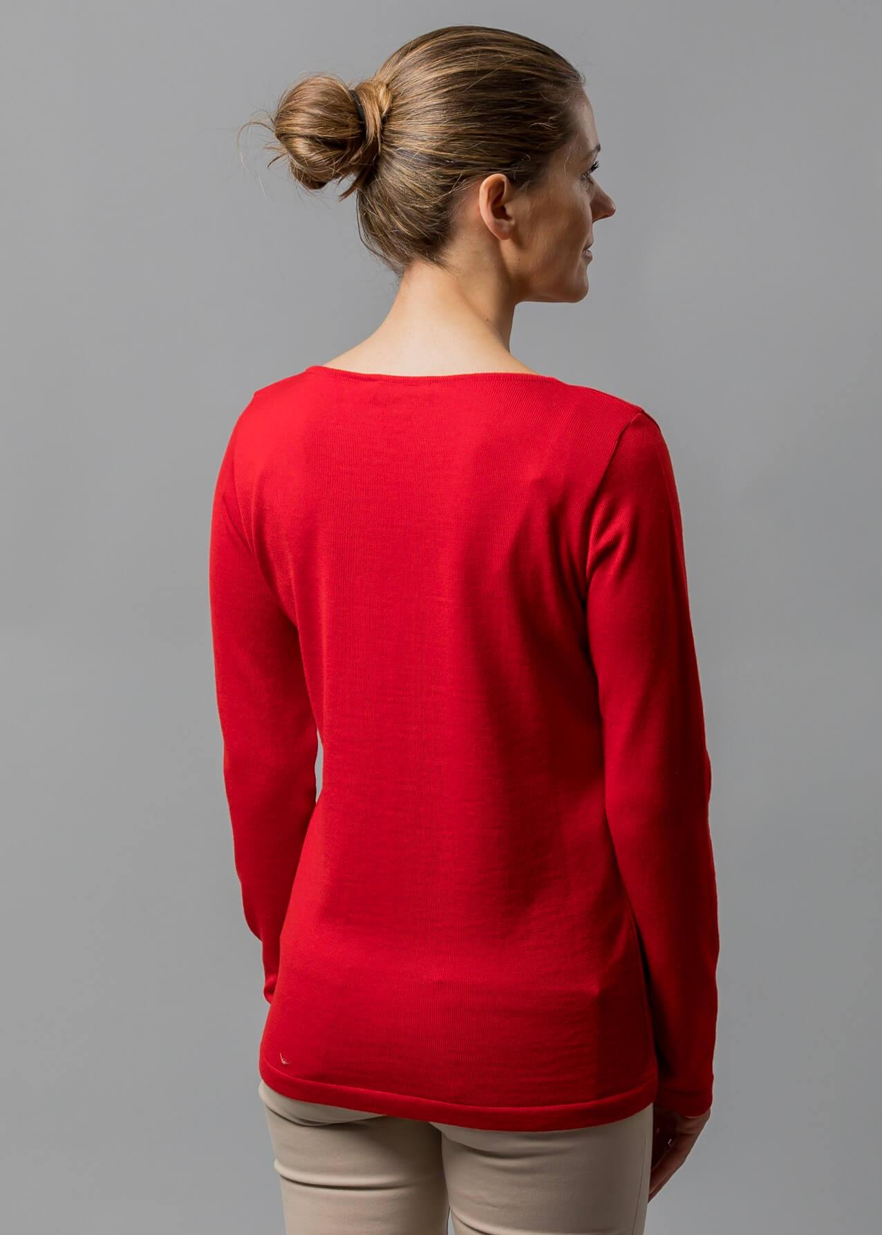 Connemara Damen Merino Pullover in rot von hinten