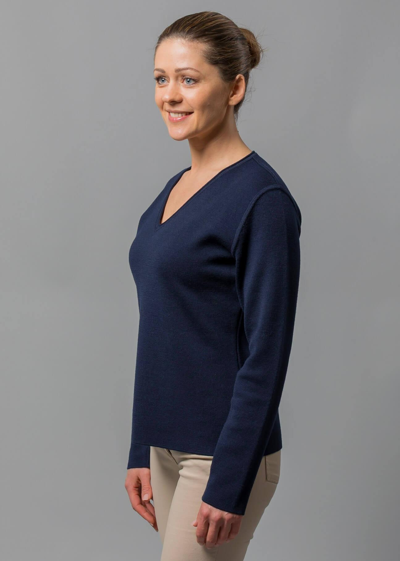 Pullover Damen blau Beate aus Merino