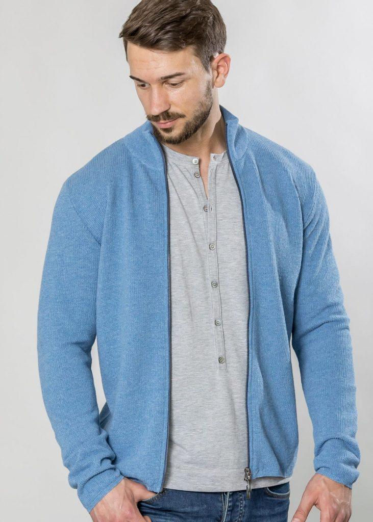 Connemara Jacke David aus Leinenmix in jeansblau | Made in EU