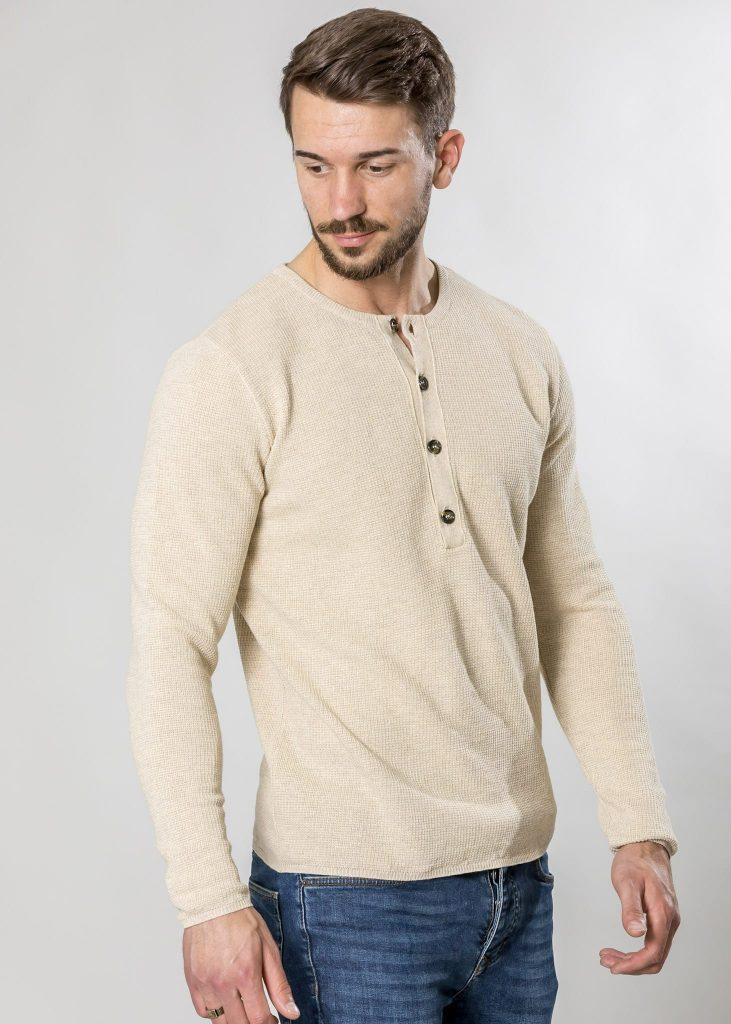 Connemara Pullover Dorian aus Leinenmix in weiß | Made in EU