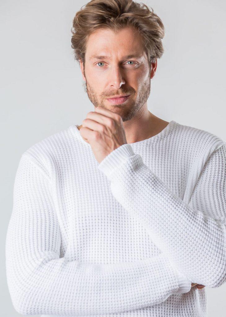 Connemara Pullover Drogo aus Baumwolle in weiß | Made in EU
