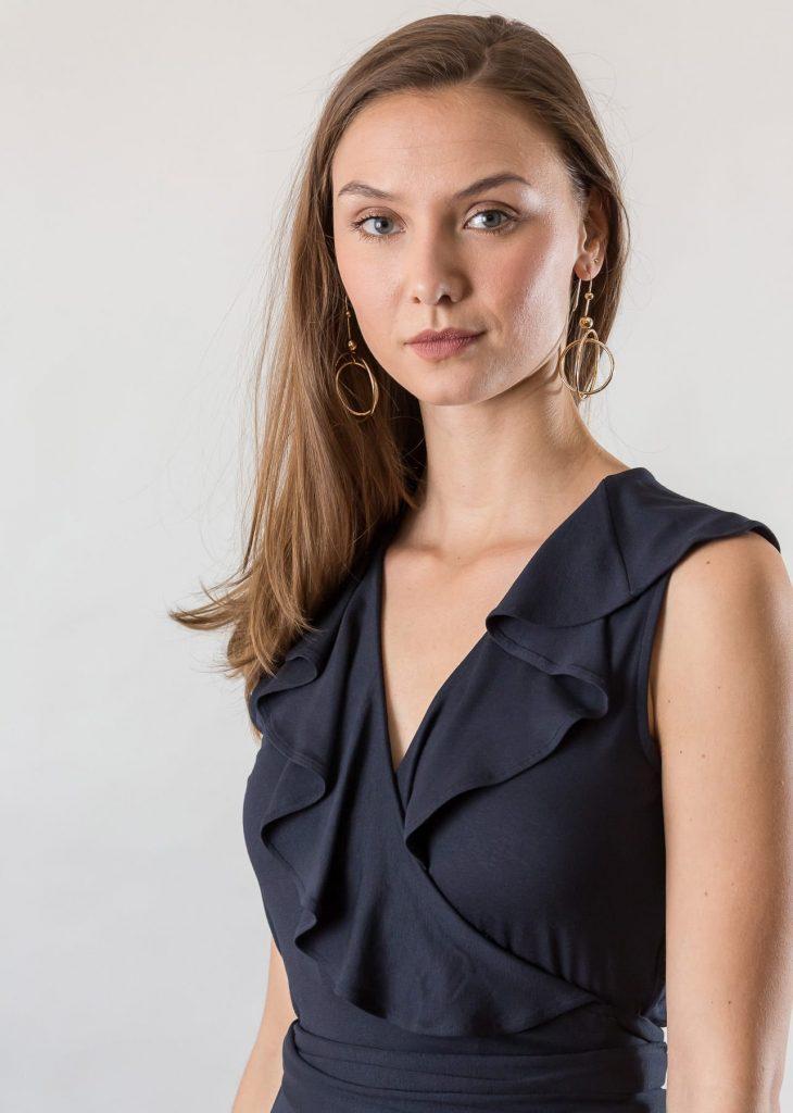 Connemara Wickelkleid Gesche aus Viskose | Jersey | navy | Made in EU