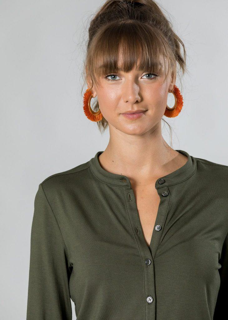 Connemara Bluse Gwendoline aus Viskose - Elasthan in oliv | Made in EU