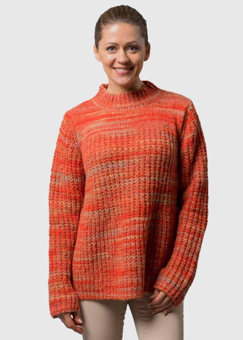 Connemara Grobstrick Pullover Damen Wolle in orange