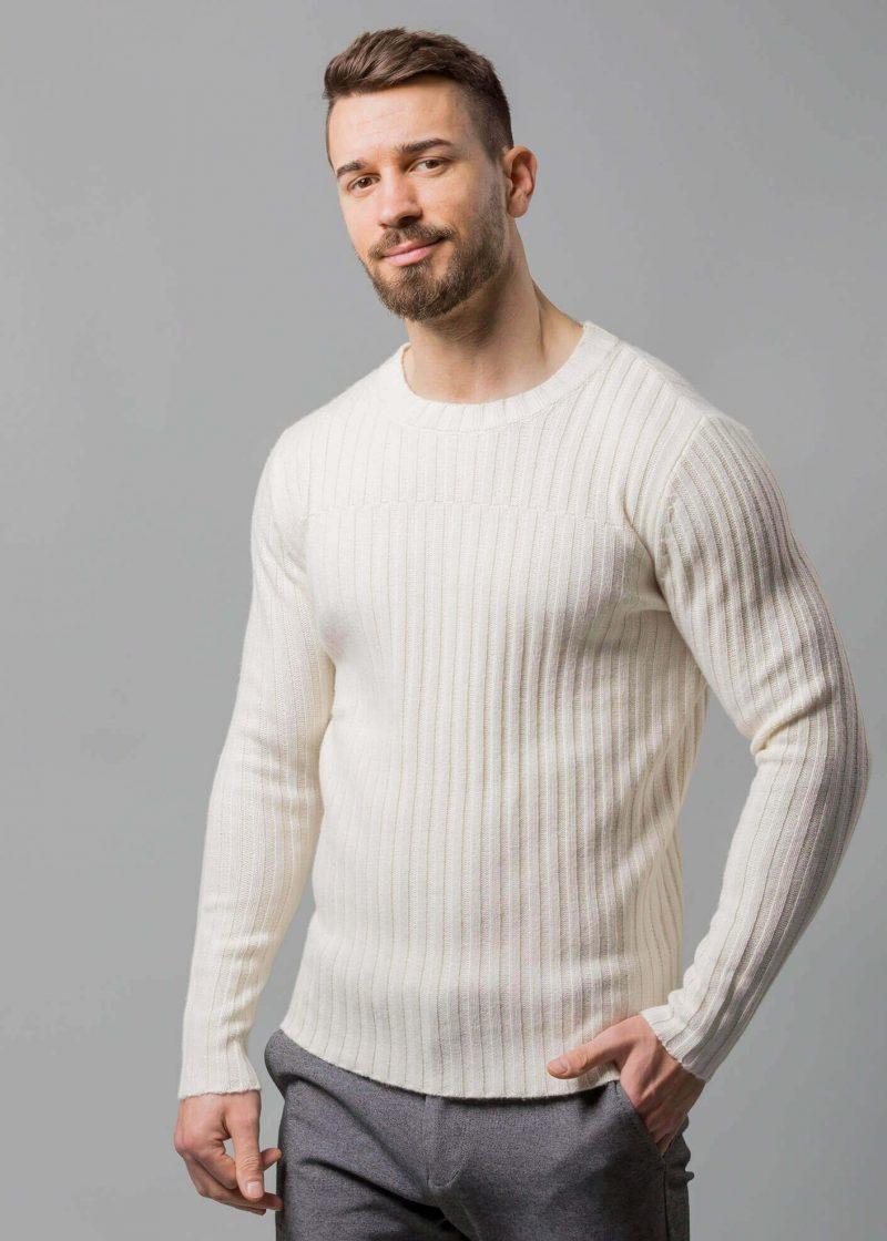 Connemara Herren Pullover wollweiß, ein Rippenpullover Herren aus Wollmix