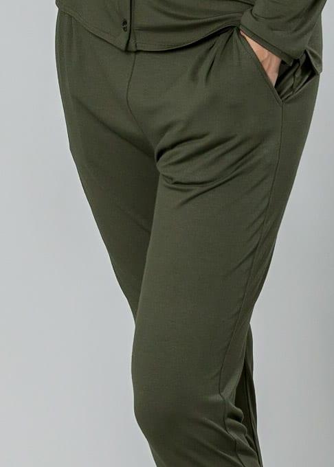 Jersey Hose in oliv von Connemara