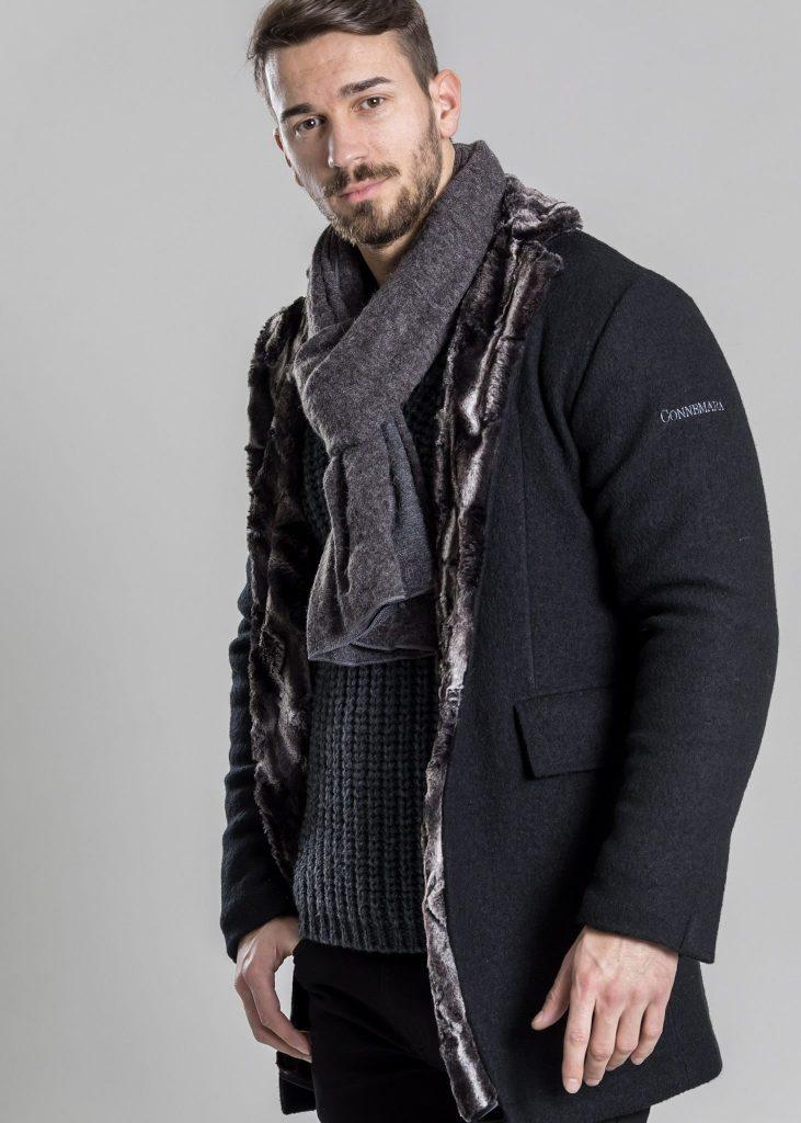 Connemara Jacke Harrison aus Wolle mit Kunstpelz | schwarz | Made in EU