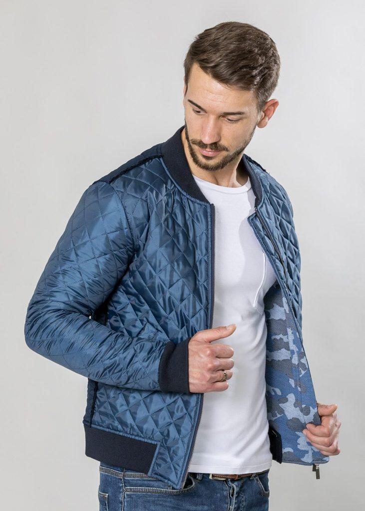 Connemara Jacke Yamato | Materialmix in blau | Made in EU