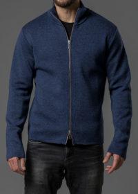 Merinojacke für Herren mit Zipper und Stehkragen blau von Connemara