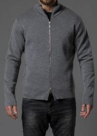 Merinojacke für Herren mit Zipper und Stehkragen grau von Connemara