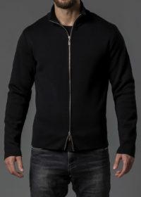 Merinojacke für Herren mit Zipper und Stehkragen schwarz von Connemara