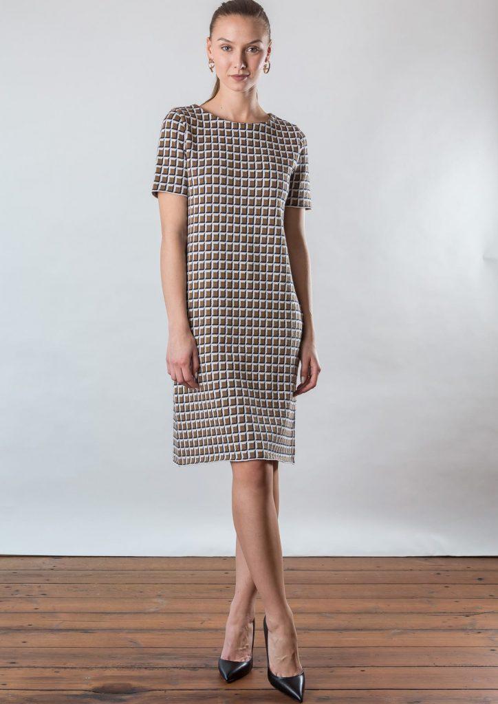 Connemara Kleid Daria aus Baumwolle | Karo-Jacquard in navy | beige | off white | Made in EU