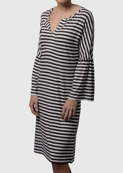 gestreiftes Sommerkleid von Connemara aus Viskose/Elasthan in schwarz/weiß