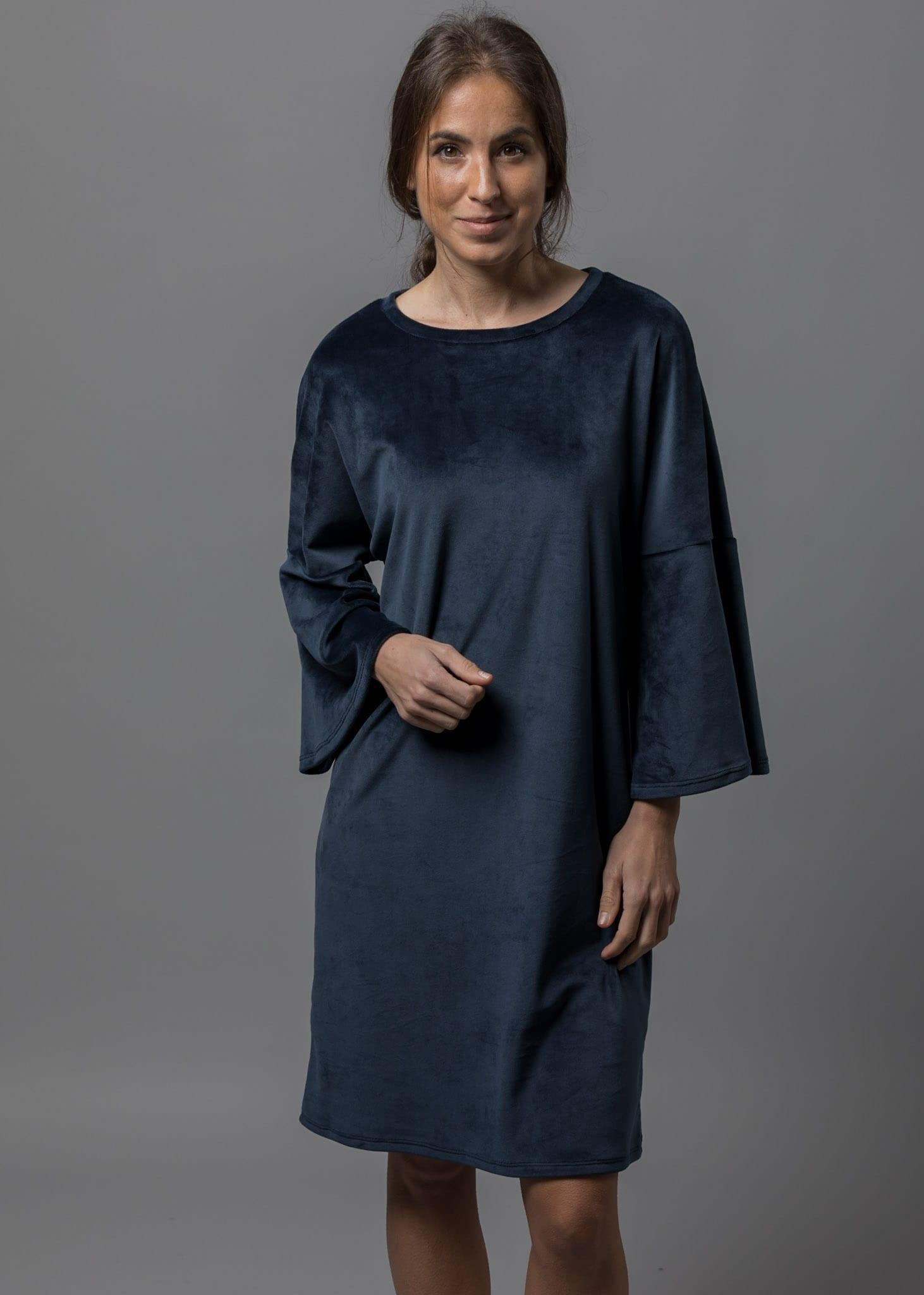 Samtkleid dunkelblau ein Kuschelkleid von Connemara