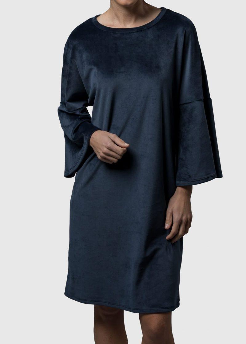 kuscheliges Kleid Karsta aus Stretchsamt von Connemara in nachtblau