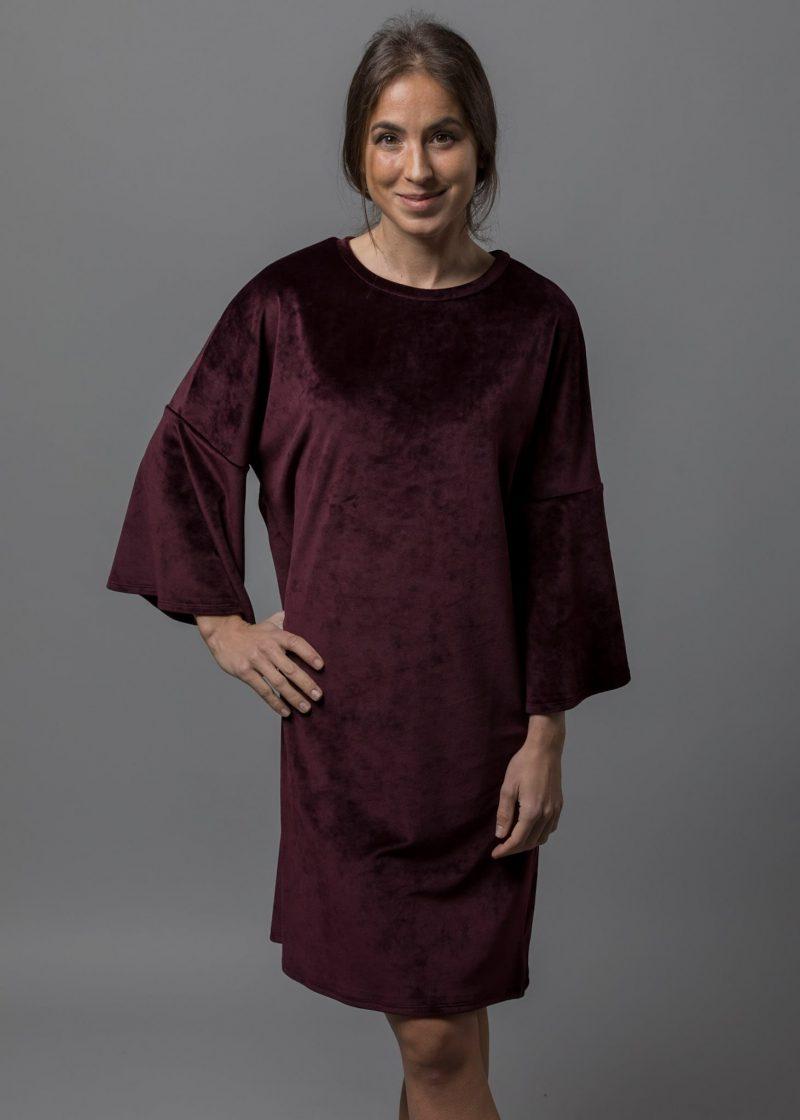 Kuschelkleid für Damen in weinrot Karsta aus Stretchsamt von Connemara
