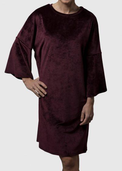 kuscheliges Kleid Karsta aus Stretchsamt von Connemara in bordeaux
