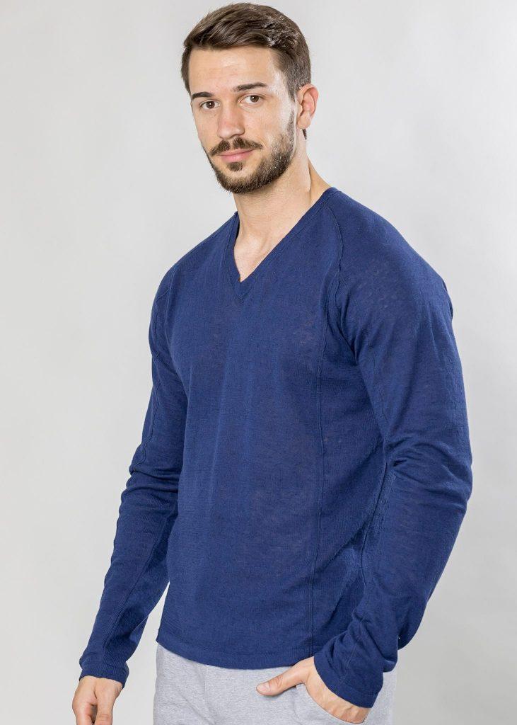 Connemara Pullover Lenny aus Leinenmix in blau | Made in EU