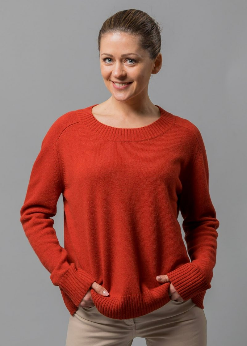 Oversize Pullover Damen orange Rhoda von Connemara