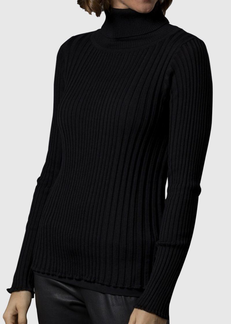 schwarzer Rolli für Damen aus Rippenstrick in Merino von Connemara