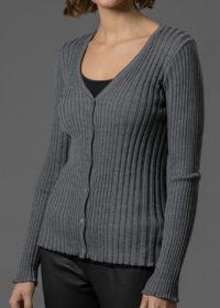 graue Jacke für Damen aus Rippenstrick in Merino von Connemara
