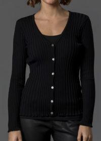 schwarze Jacke für Damen aus Rippenstrick in Merino von Connemara
