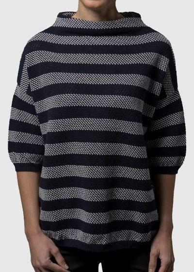 lässiger Pullover mit Kelchkragen für Damen aus Baumwolle von Connemara in navy mit creme gestreift