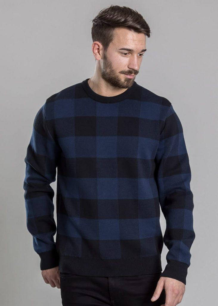 Connemara Pullover Dustin aus Baumwolle | schwarz mit blau kariert | Made in EU