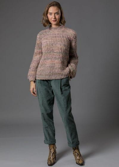 Grobstrick Pullover Damen mit Ballonärmel Heike in rosa von Connemara