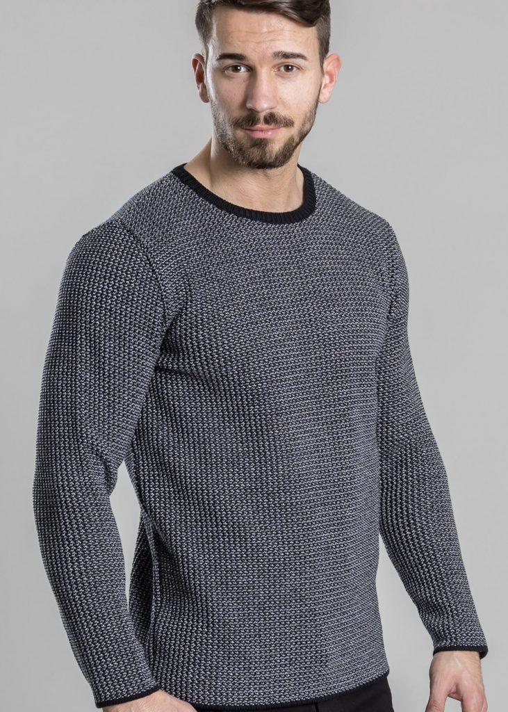 Connemara Pullover Matthias aus Merinowolle extrafein | schwarz mit silber | Made in EU