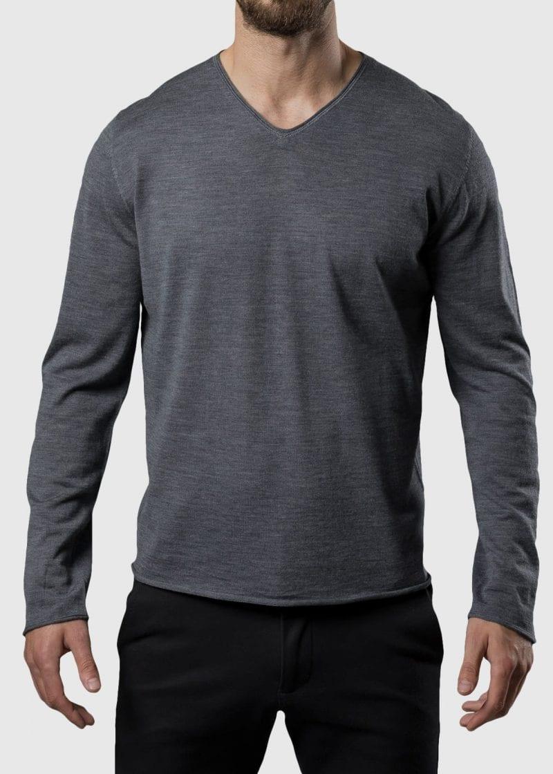 Pullover aus Merino superfein Silko von Connemara in grau melange