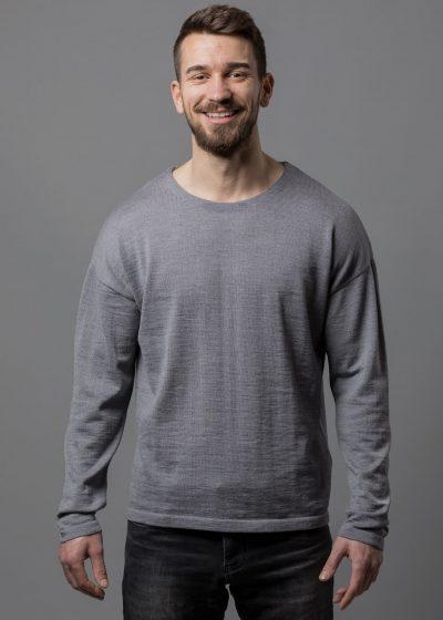 Connemara Pullover Thorsten in lässiger Passform (überschnittene Schultern) aus Merinowolle extrafein in silber melange
