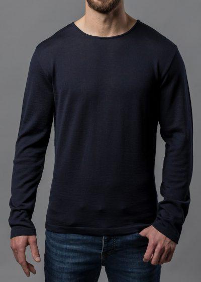 Rundhals Pullover Herren blau aus Merino von Connemara