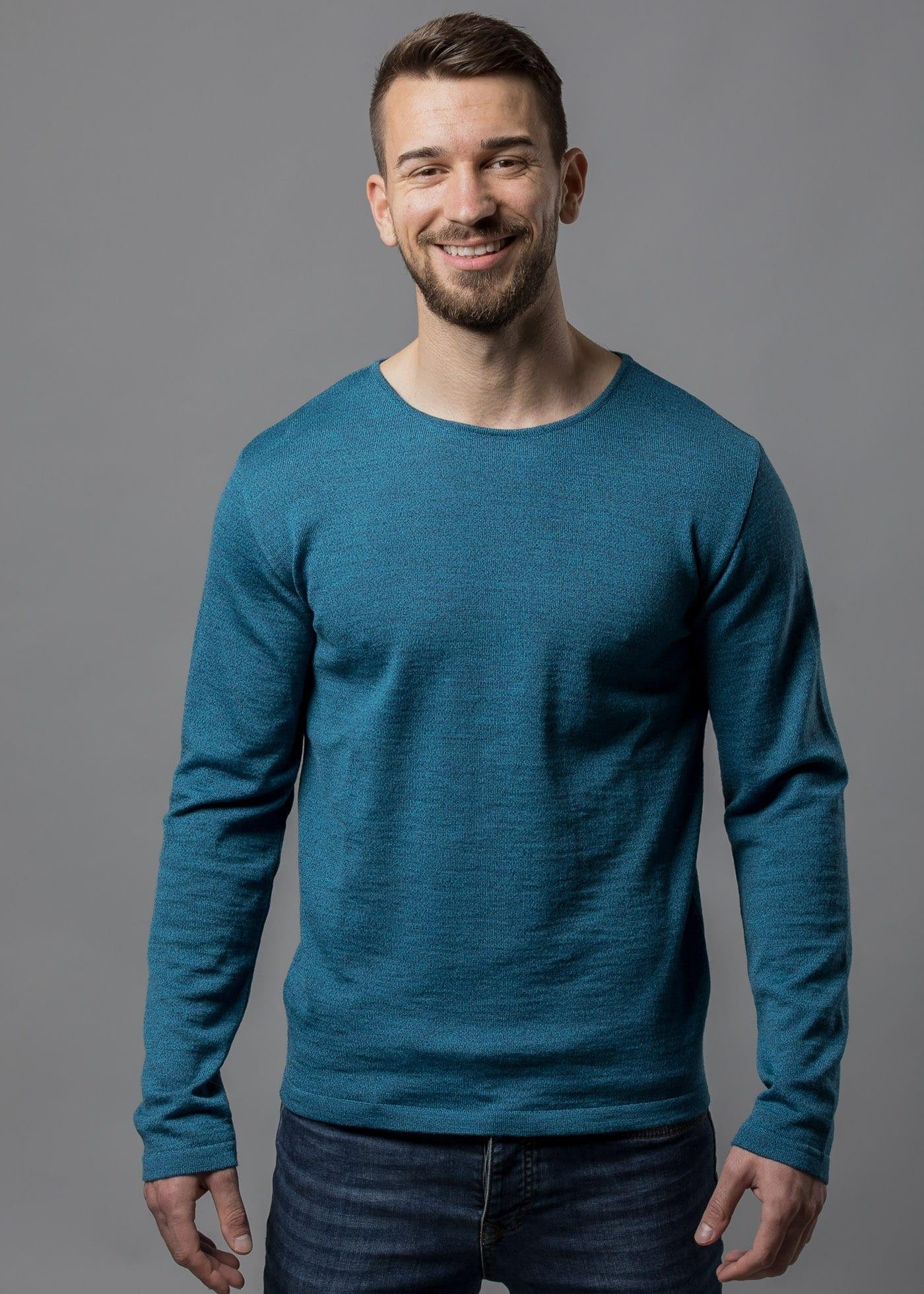 Pullover stahlblau mouliné aus Merinowolle Tim von Connemara